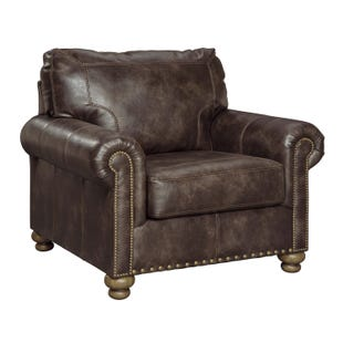 Ashley Nico Coffee Faux Leather Chair