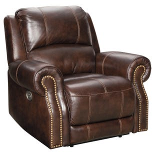 Ashley Buncrana Top Grain Leather Recliner and Headrest
