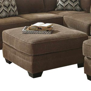 Ashley Justnya Brown Chenille Oversized Cocktail Ottoman