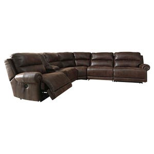 Ashley Luttrell Brown Power Sectional with Nailhead Trim