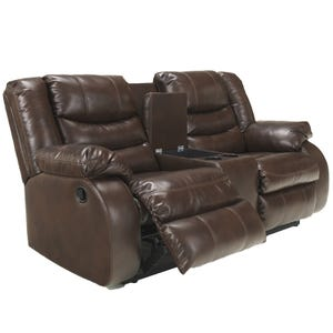 Ashley Linebacker Brown Bonded Leather Reclining Loveseat