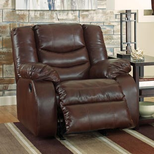 Ashley Linebacker Brown Bonded Leather Rocker Recliner