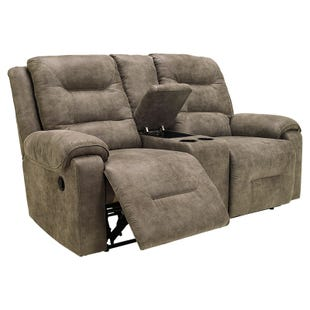 Ashley Rotation Gray Microfiber Power Reclining Loveseat