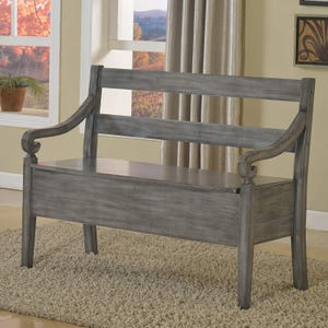Kennedy Rustic Weathered Gray Storage Bench