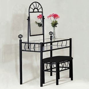 Foundry Metal and Glass Vanity Set with Bench and Mirror