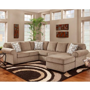 Jesse 3 Piece Cocoa Chenille Reversible Sectional