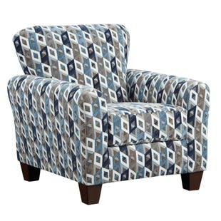 Anna Geometric Blue Accent Chair