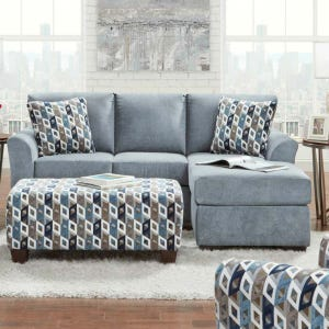 Anna Blue Queen Sleeper Sofa Chaise