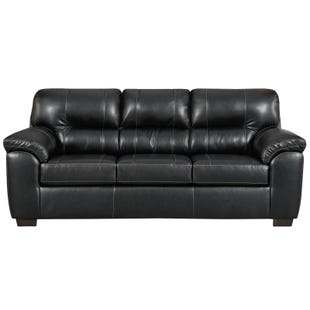 Austin Black Faux Leather Sofa