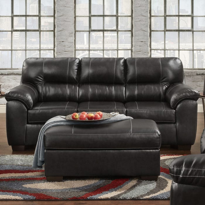 Austin Black Faux Leather Sofa   Weekends Only Furniture