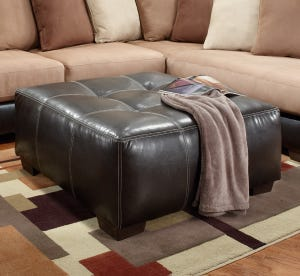 Searider Espresso Brown Faux Leather Tufted Ottoman