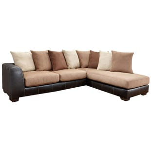 Searider Brown Microfiber and Faux Leather Sectional