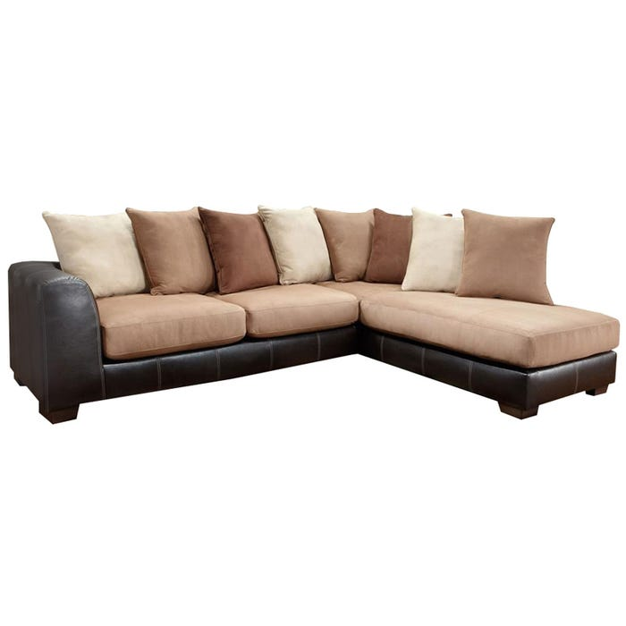 Searider Brown Microfiber And Faux Leather Sectional Weekends Only