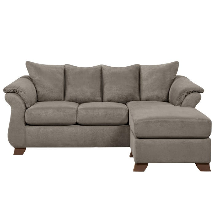 Sensations Gray Microfiber Sofa with Reversible Chaise | Weekends ...
