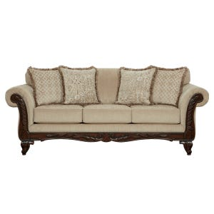 Emma Beige Chenille Sofa with Wood Trim