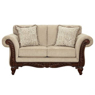 Emma Beige Chenille Loveseat with Wood Trim