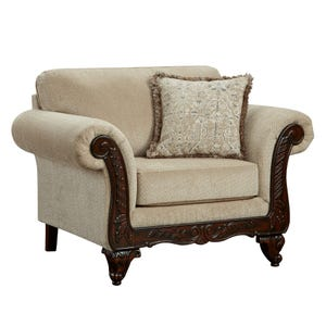 Emma Beige Chenille Chair with Wood Trim