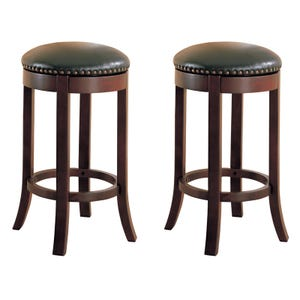 Raja Set of 2 Backless Swivel Bar Stools with Nailhead Trim
