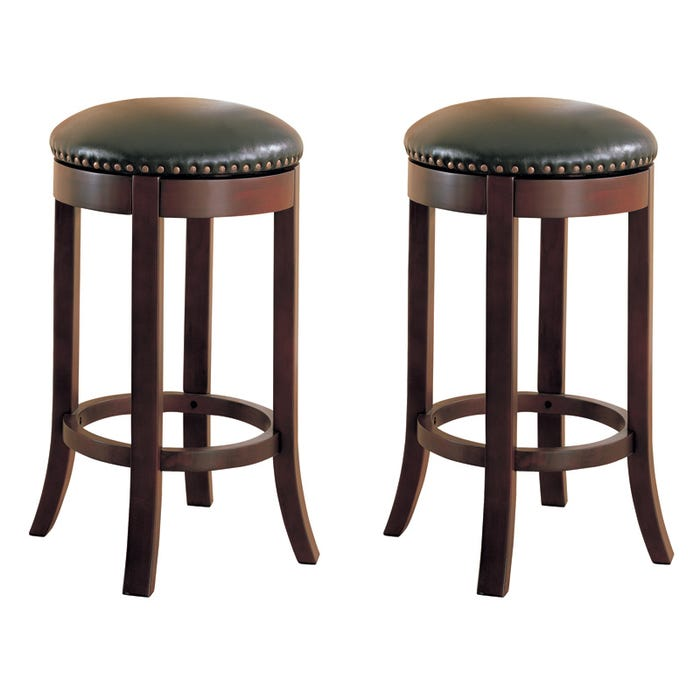 Outstanding Raja Set Of 2 Backless Swivel Bar Stools With Nailhead Trim Cjindustries Chair Design For Home Cjindustriesco