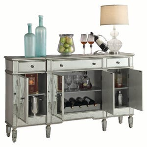 Bailey Mirrored Wine Cabinet with Bottle and Glass Storage