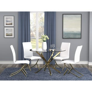 Chanel 5 Piece Dining Set White and Brass