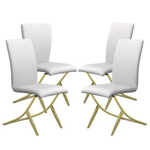 Chanel 4 Pack of Dining Chairs White and Brass