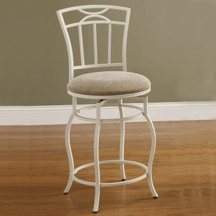 Mona White Metal Counter Height Swivel Stool