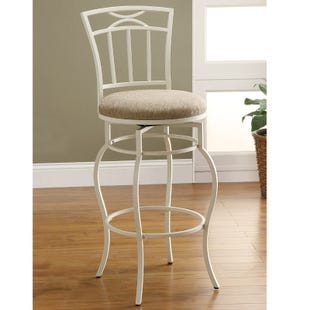 Mona White Metal Bar Height Swivel Stool