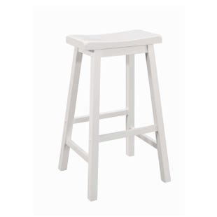 Coaster Slater White and Wood Saddle Bar Stool
