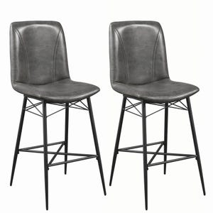 Coaster Elm Gray Leatherette Set of 2 Bar Stools
