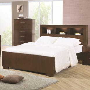 Jessica Queen Lighted Bookcase Headboard Bed