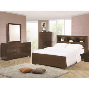 Jessica King Lighted Bookcase Bedroom Set