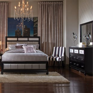 Barzini Glam Upholstered Queen Bedroom Set