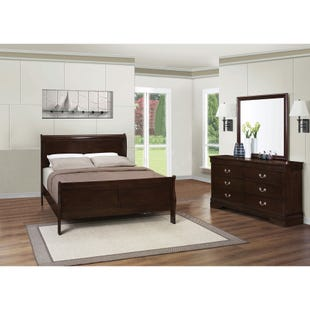 Louis Phillipe Cappuccino Queen Sleigh 3 Piece Bedroom Set