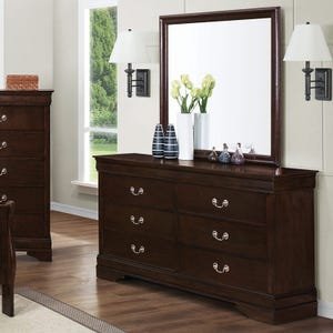 Louis Phillipe Cappuccino Brown Dresser and Mirror