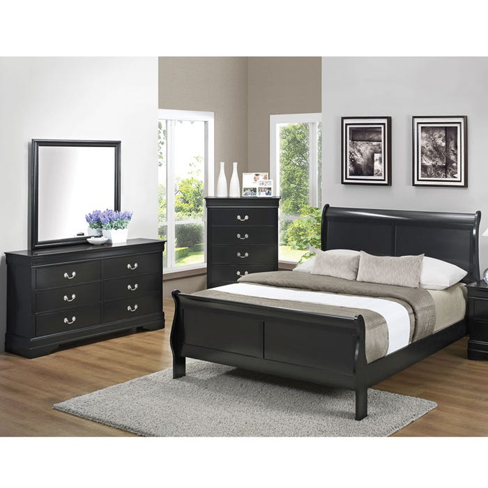 Louis Phillipe Queen Black Sleigh Bedroom Set