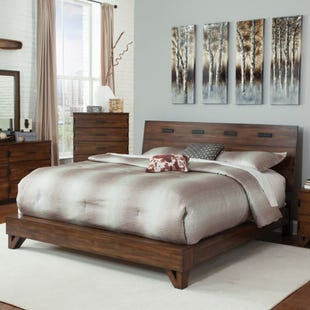 Yorkshire Queen Dark Amber/Coffee Bean Platform Bed