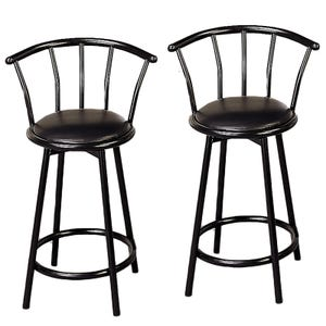 Kara Black Counter Height Set of 2 Stools