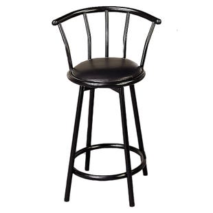 Kara Black Bar Height Swivel Stool