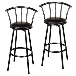 Kara Black Bar Height Set of 2 Swivel Stools