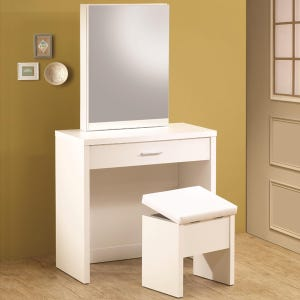 Edwina White Storage Vanity with Bench and Mirror