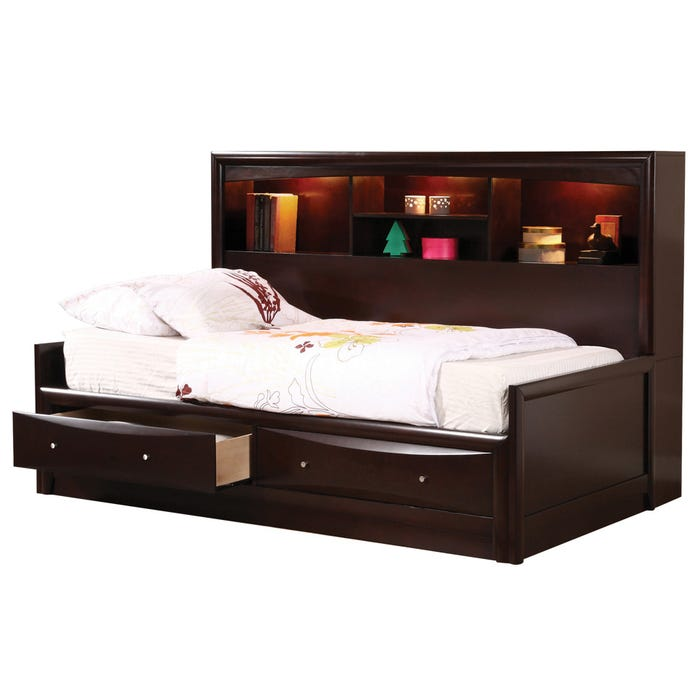Phoenix Full Storage Daybed With Lighted Bookcase Headboard