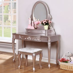 Metallic Lilac Vanity Desk & Mirror