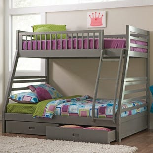Ashton Gray Twin/Full Bunk Bed with Storage