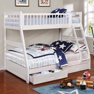 Ashton White Twin/Full Bunk Bed