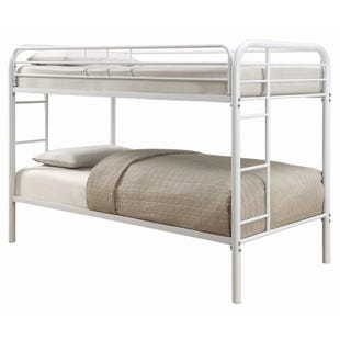 """Morgan White Bunk Bed with Two 7"""" Twin Foam Mattresses"""