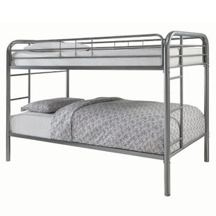 "Morgan Silver Bunk Bed with Two 7"" Twin Foam Mattresses"