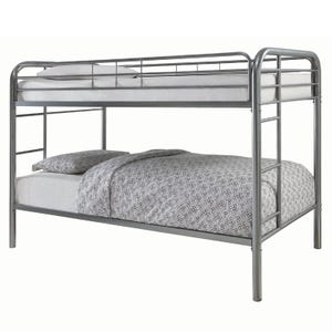 """Morgan Silver Bunk Bed with Two 7"""" Twin Foam Mattresses"""