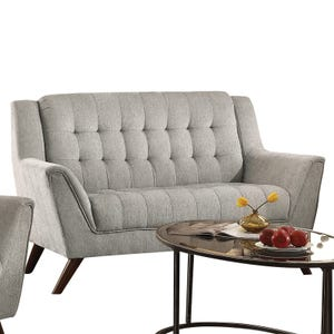 Natalia Dove Gray Modern Tufted Loveseat with Pocketed Coils