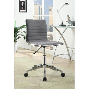 Chet Modern Gray Rolling Office Chair with Chrome Finish